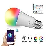 JOMARTO Smart LED Lampe, WIFI Lampe E27, 9W, 800LM Smart Lampe Wifi Smart Birne RGBW...