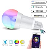 Smart Alexa Lampe,Alexa Wifi LED Glühbirne,Hergestellt aus Aluminiumlegierung,7W E27 RGB...